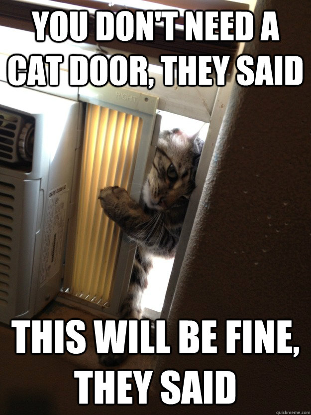 You don't need a cat door, they said this will be fine, they said