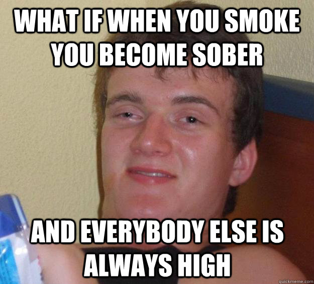 What if when you smoke you become sober and everybody else is always high - What if when you smoke you become sober and everybody else is always high  10 Guy