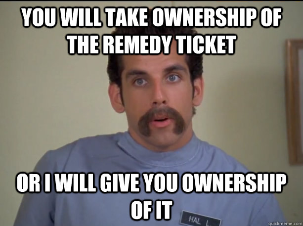 You will take ownership of the Remedy Ticket or i will give you ownership of it
