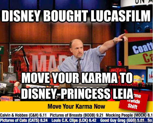 DISNEY BOUGHT LUCASFILM MOVE YOUR KARMA TO DISNEY-PRINCESS LEIA - DISNEY BOUGHT LUCASFILM MOVE YOUR KARMA TO DISNEY-PRINCESS LEIA  Mad Karma with Jim Cramer