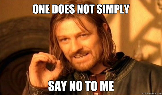 ONE DOES NOT SIMPLY  SAY NO TO ME