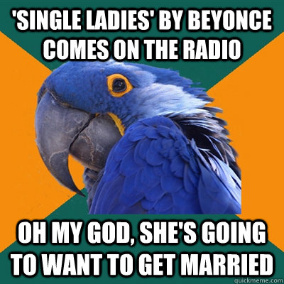 'single ladies' by beyonce comes on the radio oh my god, she's going to want to get married - 'single ladies' by beyonce comes on the radio oh my god, she's going to want to get married  Paranoid Parrot