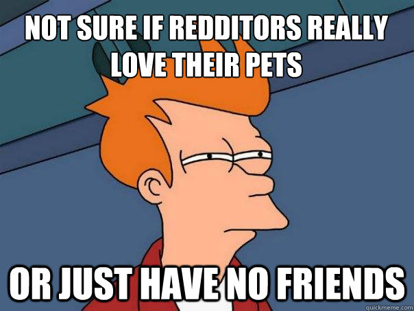 Not sure if Redditors really love their pets Or just have no friends - Not sure if Redditors really love their pets Or just have no friends  Futurama Fry