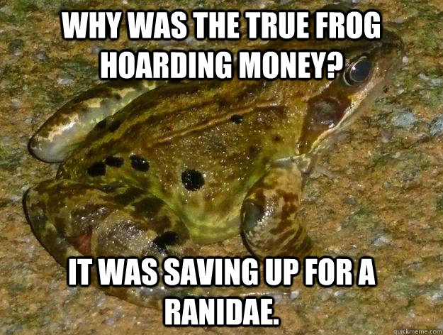 Why was the true frog hoarding money? It was saving up for a Ranidae. - Why was the true frog hoarding money? It was saving up for a Ranidae.  Misc