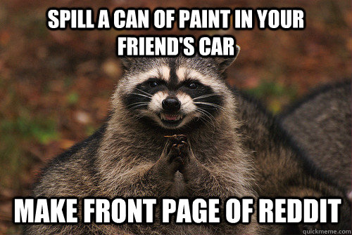spill a can of paint in your friend's car make front page of reddit - spill a can of paint in your friend's car make front page of reddit  Insidious Racoon 2