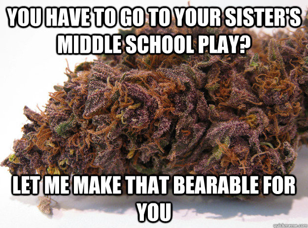 You have to go to your sister's middle school play? let me make that bearable for you - You have to go to your sister's middle school play? let me make that bearable for you  Good Guy Marijuana