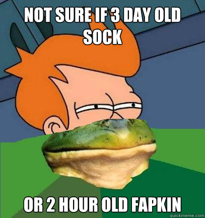 NOT SURE IF 3 DAY OLD SOCK OR 2 HOUR OLD FAPKIN