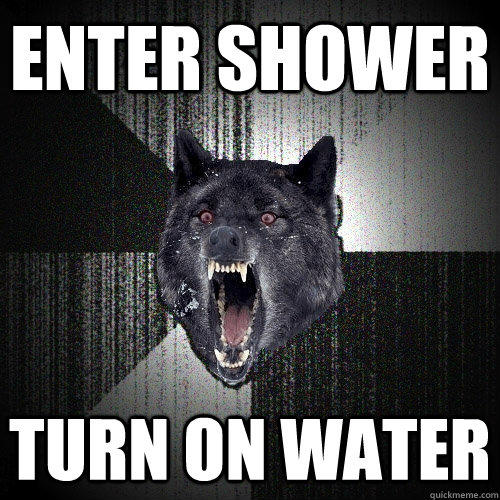enter shower turn on water  - enter shower turn on water   Insanity Wolf