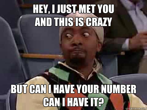 Hey, I just met you And this is crazy But can i have your number Can I have it?