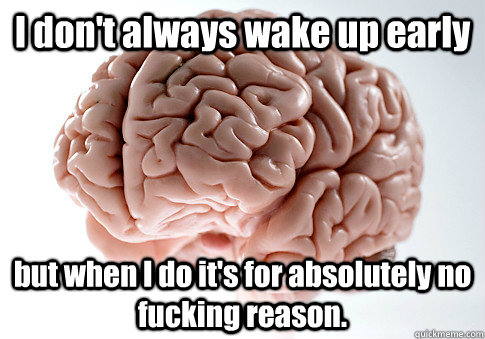 I don't always wake up early but when I do it's for absolutely no fucking reason. - I don't always wake up early but when I do it's for absolutely no fucking reason.  Scumbag Brain