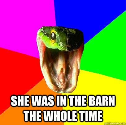 SHE WAS IN THE BARN THE WHOLE TIME  Spoiler Snake