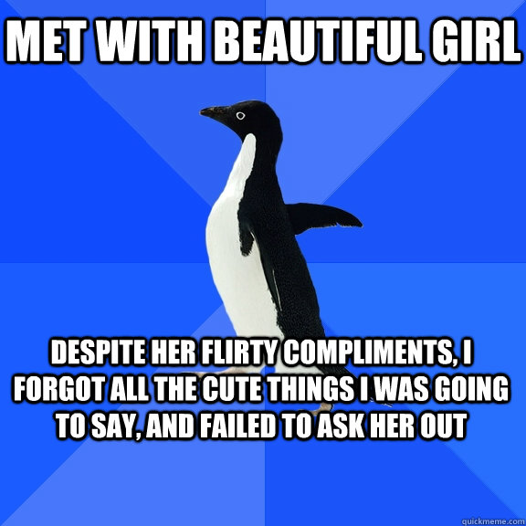 Met with beautiful girl Despite her flirty compliments, I forgot all the cute things I was going to say, and failed to ask her out - Met with beautiful girl Despite her flirty compliments, I forgot all the cute things I was going to say, and failed to ask her out  Socially Awkward Penguin