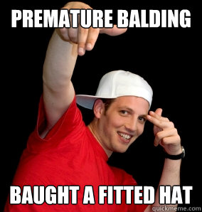 Premature balding baught a fitted hat