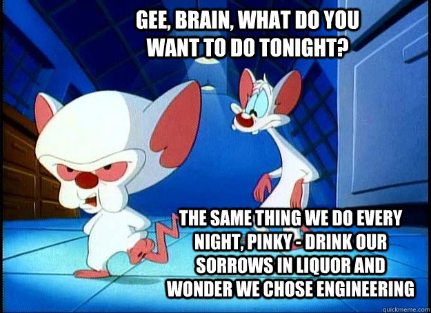 Gee, Brain, what do you want to do tonight? The same thing we do every night, Pinky - drink our sorrows in liquor and wonder we chose engineering - Gee, Brain, what do you want to do tonight? The same thing we do every night, Pinky - drink our sorrows in liquor and wonder we chose engineering  Pinky and the Brain