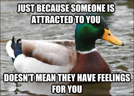 Just because someone is attracted to you Doesn't mean they have feelings for you - Just because someone is attracted to you Doesn't mean they have feelings for you  Actual Advice Mallard