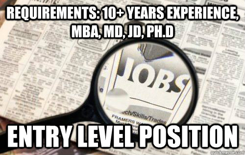 Requirements: 10+ Years experience, MBA, MD, JD, Ph.D Entry level position