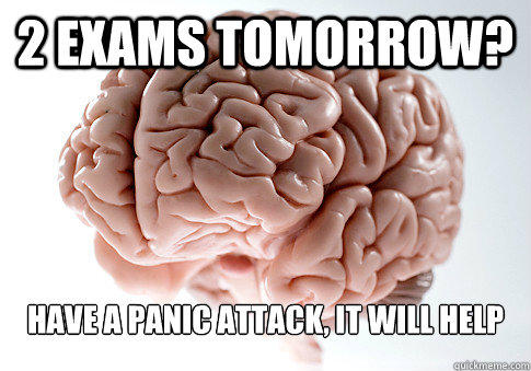 2 EXAMS TOMORROW? HAVE A PANIC ATTACK, IT WILL HELP - 2 EXAMS TOMORROW? HAVE A PANIC ATTACK, IT WILL HELP  Scumbag Brain