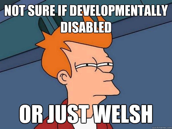 not sure if developmentally disabled or just welsh - not sure if developmentally disabled or just welsh  Futurama Fry