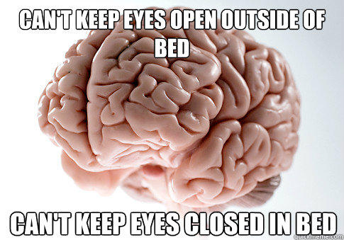 Can't keep eyes open outside of bed Can't keep eyes closed in bed - Can't keep eyes open outside of bed Can't keep eyes closed in bed  Scumbag Brain