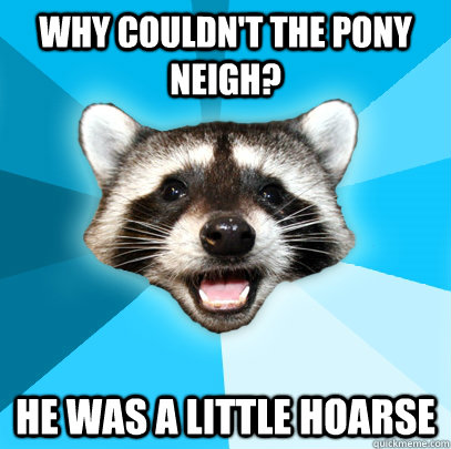 Why couldn't the pony neigh? He was a little hoarse  - Why couldn't the pony neigh? He was a little hoarse   Lame Pun Coon