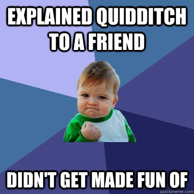 explained quidditch to a friend didn't get made fun of - explained quidditch to a friend didn't get made fun of  Success Kid