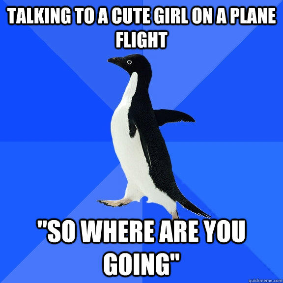 Talking to a cute girl on a plane flight
