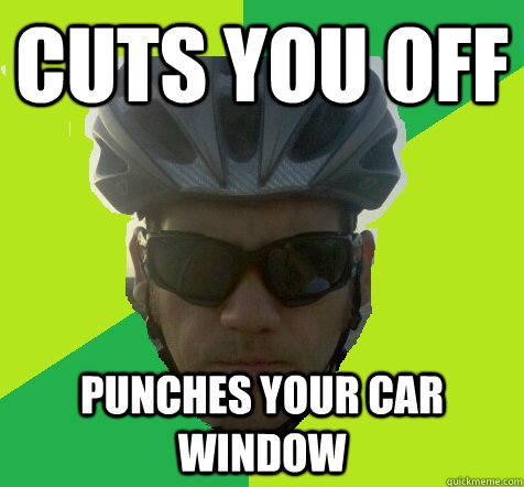 cuts you off punches your car window