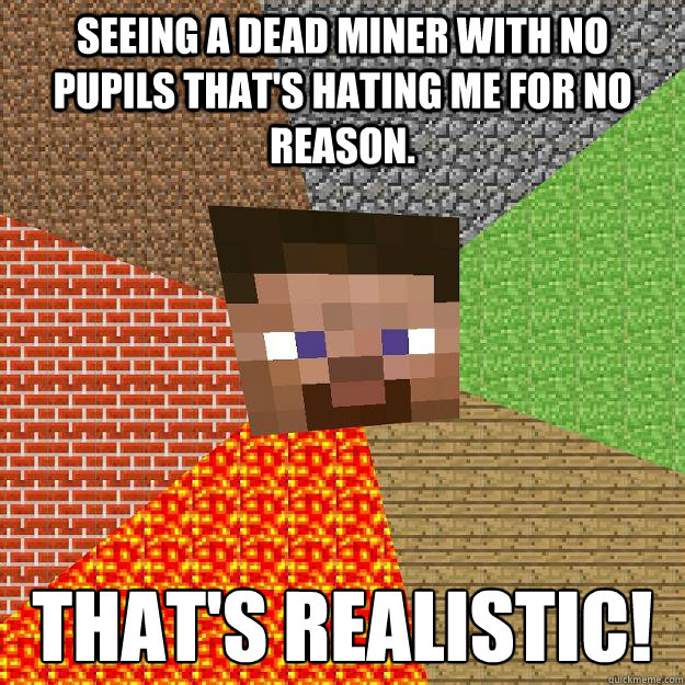 Seeing a dead miner with no pupils that's hating me for no reason. THAT'S REALISTIC! - Seeing a dead miner with no pupils that's hating me for no reason. THAT'S REALISTIC!  Minecraft