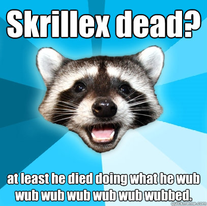 Skrillex dead? at least he died doing what he wub wub wub wub wub wub wubbed. - Skrillex dead? at least he died doing what he wub wub wub wub wub wub wubbed.  Lame Pun Coon