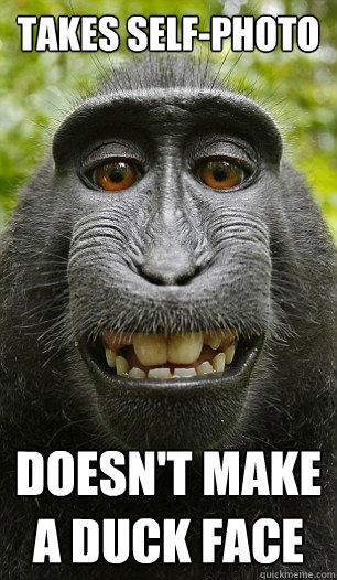 Takes self-photo Doesn't make a duck face - Takes self-photo Doesn't make a duck face  Mindful Macaque