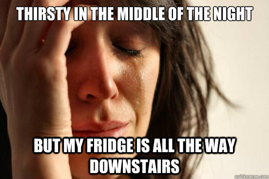 thirsty in the middle of the night but my fridge is all the way downstairs - thirsty in the middle of the night but my fridge is all the way downstairs  First World Problems