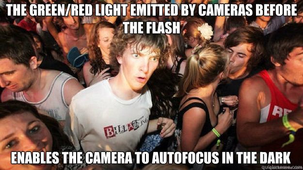the green/red light emitted by cameras before the flash enables the camera to autofocus in the dark