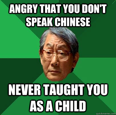 Angry that you don't speak Chinese Never taught you as a child - Angry that you don't speak Chinese Never taught you as a child  High Expectations Asian Father