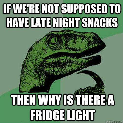 if we're not supposed to have late night snacks then why is there a fridge light - if we're not supposed to have late night snacks then why is there a fridge light  Philosoraptor