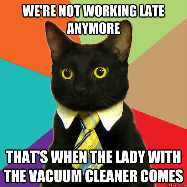 We're not working late anymore that's when the lady with the vacuum cleaner comes - We're not working late anymore that's when the lady with the vacuum cleaner comes  Business Cat