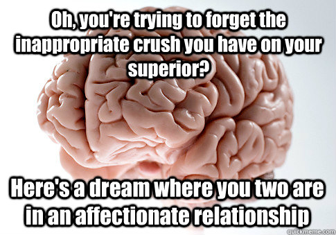 Oh, you're trying to forget the inappropriate crush you have on your superior? Here's a dream where you two are in an affectionate relationship - Oh, you're trying to forget the inappropriate crush you have on your superior? Here's a dream where you two are in an affectionate relationship  Scumbag Brain