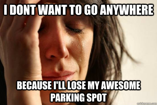 I dont want to go anywhere Because i'll lose my awesome parking spot - I dont want to go anywhere Because i'll lose my awesome parking spot  beta fwp