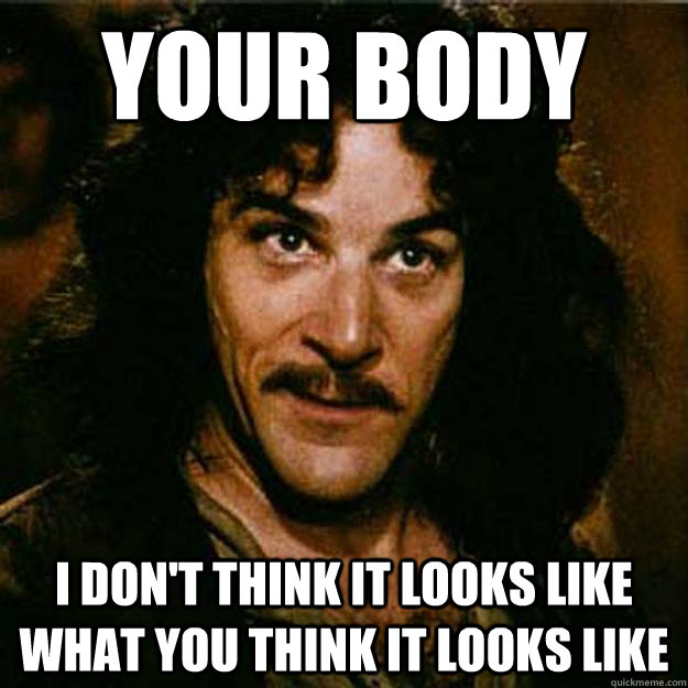 Your body I don't think it looks like what you think it looks like  Inigo Montoya