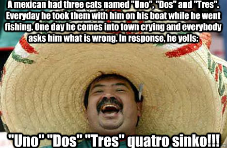 A mexican had three cats named