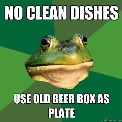 No clean dishes use old beer box as plate - No clean dishes use old beer box as plate  Foul Bachelor Frog