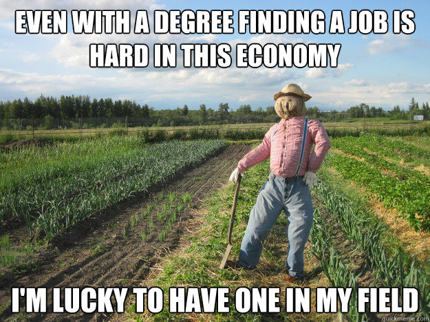 even with a degree finding a job is hard in this economy i'm lucky to have one in my field - even with a degree finding a job is hard in this economy i'm lucky to have one in my field  Scarecrow