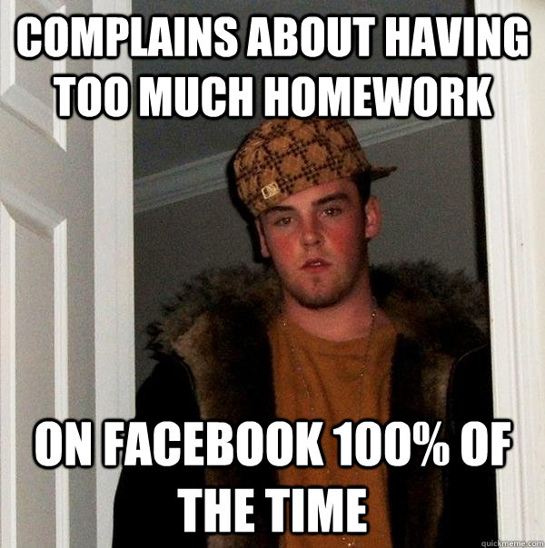 complains about having too much homework on facebook 100% of the time - complains about having too much homework on facebook 100% of the time  Scumbag Steve