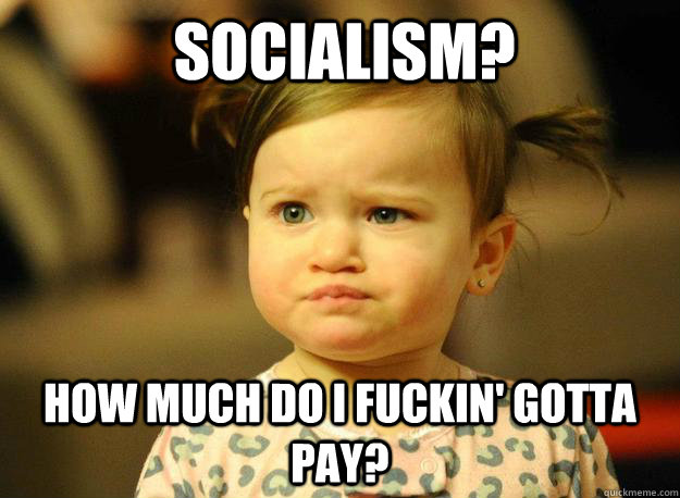 Socialism? How much do I fuckin' gotta pay? - Socialism? How much do I fuckin' gotta pay?  Judgemental Toddler