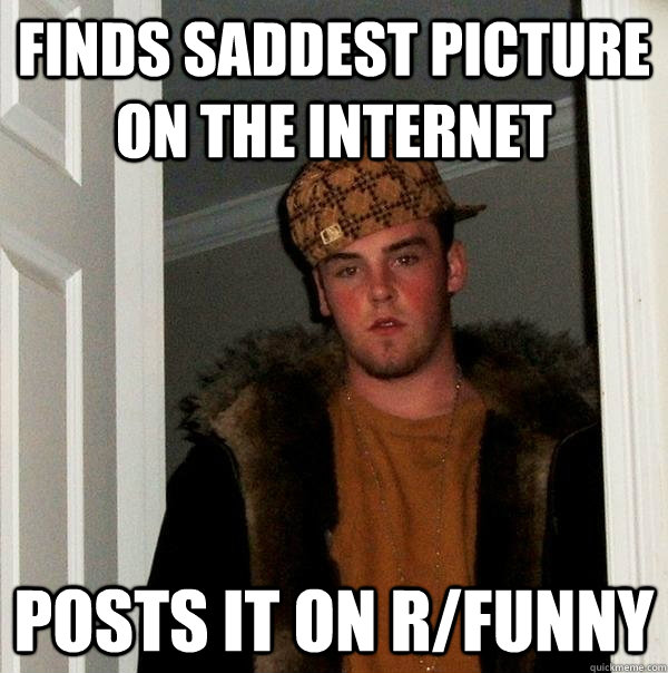 Finds saddest picture on the internet Posts it on r/Funny - Finds saddest picture on the internet Posts it on r/Funny  Scumbag Steve