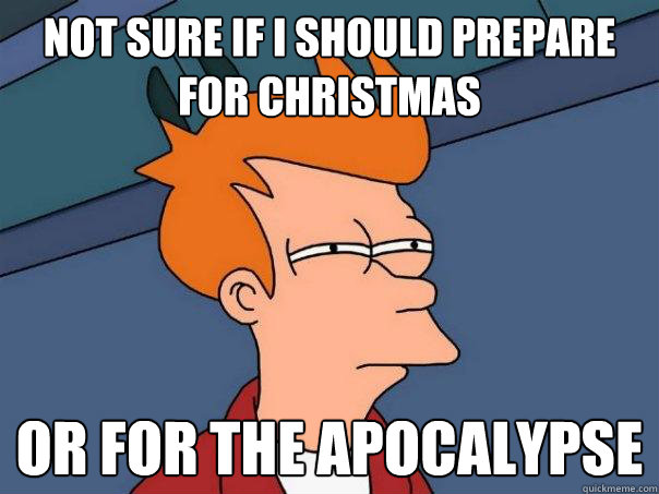 Not sure if I should prepare for christmas Or for the apocalypse  - Not sure if I should prepare for christmas Or for the apocalypse   Futurama Fry