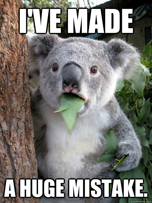 I've made a huge mistake.  - I've made a huge mistake.   Surprised Koala