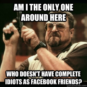 AM I THE ONLY ONE AROUND HERE who doesn't have complete idiots as facebook friends? - AM I THE ONLY ONE AROUND HERE who doesn't have complete idiots as facebook friends?  Am I the only one around here who knows...