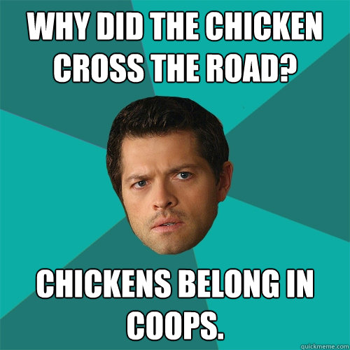Why did the chicken cross the road? Chickens belong in coops.