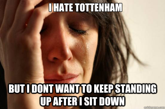 I hate tottenham  But i dont want to keep standing up after i sit down -  I hate tottenham  But i dont want to keep standing up after i sit down  First World Problems