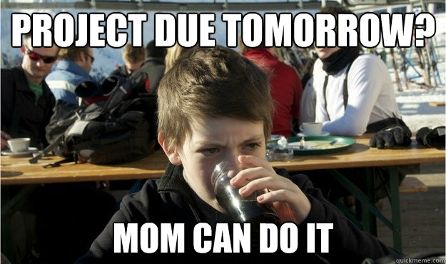 Project due tomorrow? Mom can do it